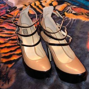 Tan and black sexy heels